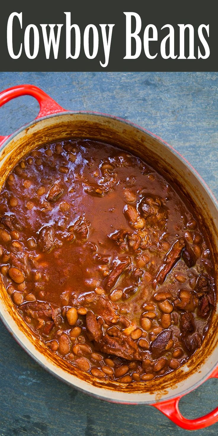 Cowboy Beans ~ Slow-cooked cowboy beans with pinto beans, ham hocks, barbecue sauce, and coffee. Great accompaniment to a summer barbecue. ~ SimplyRecipes.com