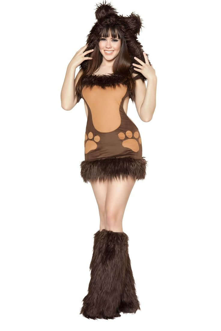 Bodacious Bear Costume Includes Dress With Fur Trim, Attached Hood, Fur Ears And Tail, And Paw Print Detail. Shop this now YourLaMode #sexy #animal #costumes #women #clothing