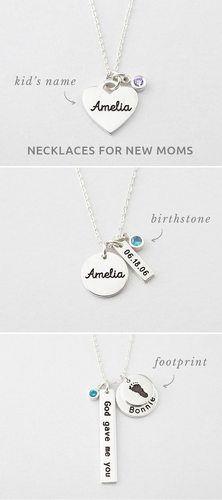 Dainty Necklace Silver Disc New Mom Child Necklace Initial Necklace Mothers Day Mother/'s Necklace Foot Print Necklace Personalised