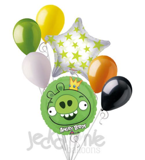 """Included in this bouquet: 7 Balloon Total 1 – 18"""" """"Angry Birds"""" Green King Pig Round Balloon 1 – 21"""" Lime Green Stars on Clear Star Balloon 5 - 12"""" Mixed Latex Balloons (Yellow, Lime Green, White, Ora"""