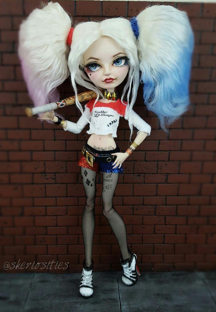 Custom OOAK Monster High Blondie Locks doll as Suicide Squad Harley Quinn Repaint reroot and costume by Skeriosities