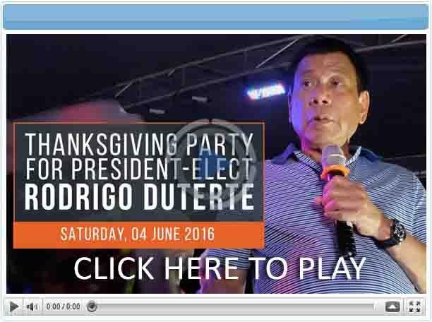 Thanksgiving Party for President-Elect Rodrigo Duterte - Pinoy Show Biz  Your Online Pinoy Showbiz Portal