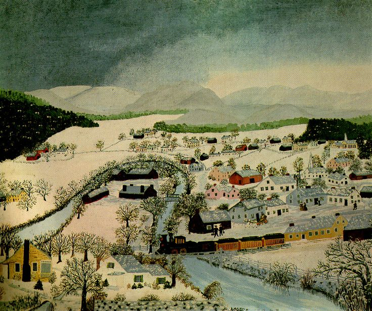 Hoosick Falls in Winter - The Village of Hoosick Falls will always have a key place in the biography of Grandma Moses. It was here that her paintings were first discovered, sitting in Thomas' Drugstore window, and it is here that the artist is buried.