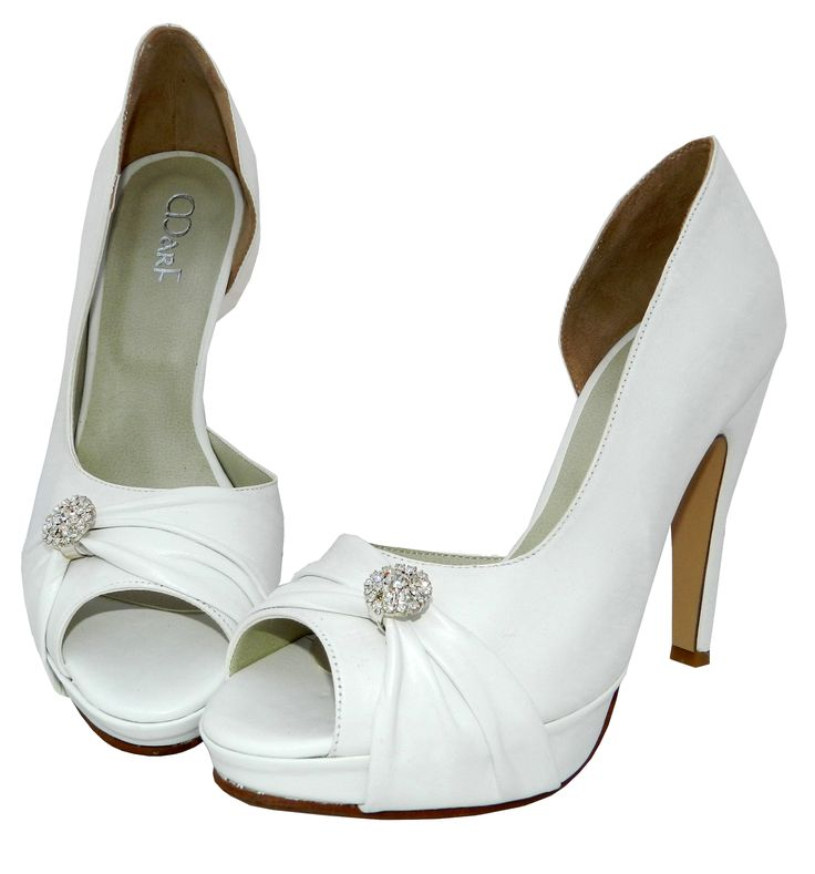 MarF Zapatos - Colección Novias _ Modelo Mey - cuero blanco y tiza