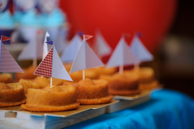 Cute cakes at a Nautical Birthday Party!  See more party ideas at CatchMyParty.com!