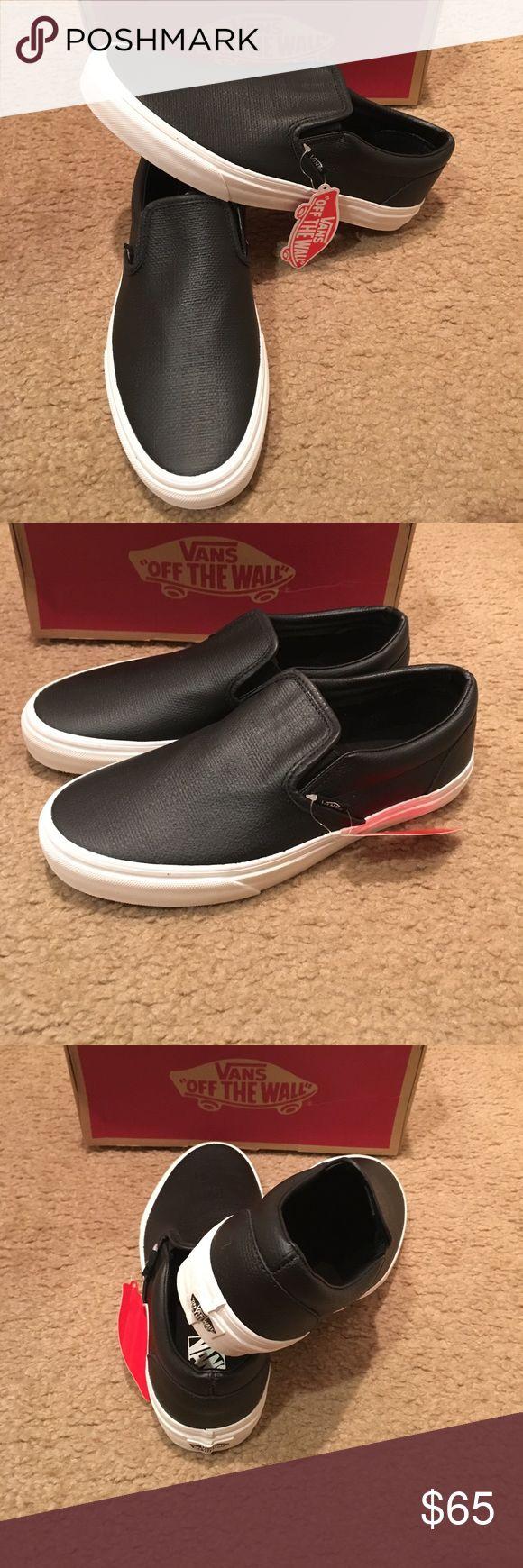 Embossed Leather Classic Slip on Vans New in box. Black Vans Shoes Sneakers