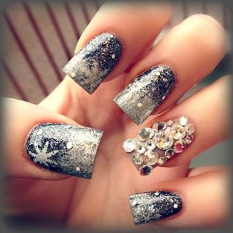 9 best best crystal nail art designs images on pinterest crystal snowflake crystal nails prinsesfo Image collections
