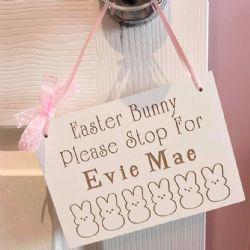 Please Stop Bunny Hanging Plaque