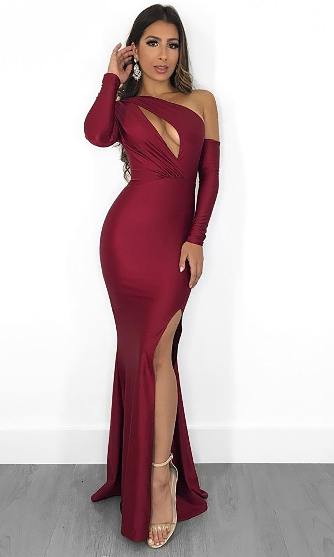 39ca46dd58fe8 Reaching The Limit Wine Red Satin Long Sleeve One Shoulder ...