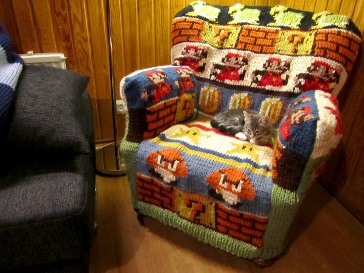 Super Mario armchair cover made by one dear mother-in-law, age 65.