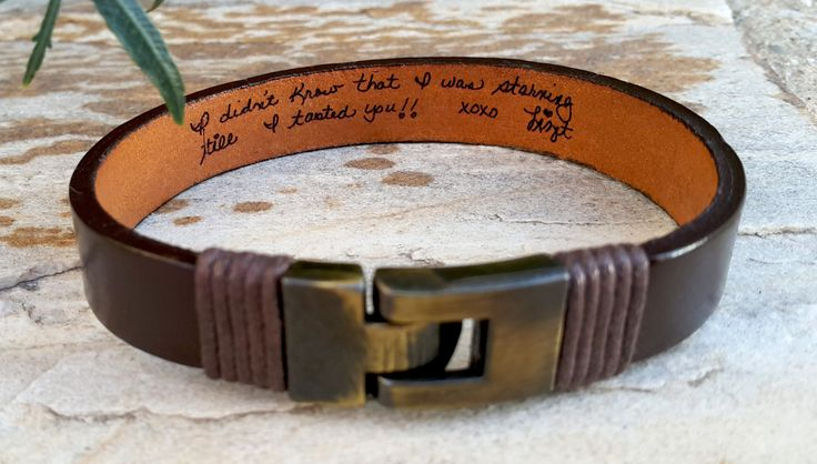 Loved One's Handwriting Genuine Leather Bracelet, Personalized Actual Handwritten Hidden Message Bracelet, Memorial Mom Dad Gift