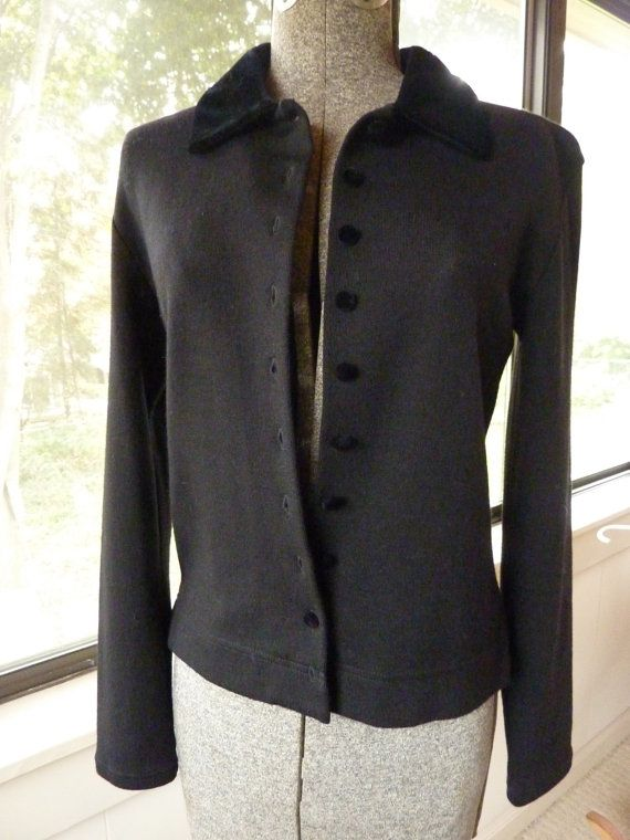 Vintage Black Cardigan Top Velvet Collar Buttons Sz Small Ann Taylor Brand 100% Wool Dry Clean Hand Wash Holiday Sweater 34 inch Bust