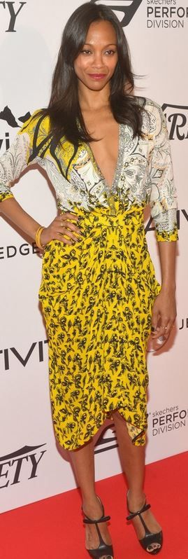 Who made  Zoe Saldana's yellow print dress and black bow pumps