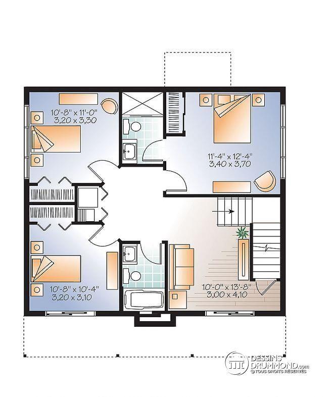 Plan de Sous-sol Chalet de ski Scandinave Rustique à 3 chambres, deux salles familiales, rangement skis & planches  - Dahilia
