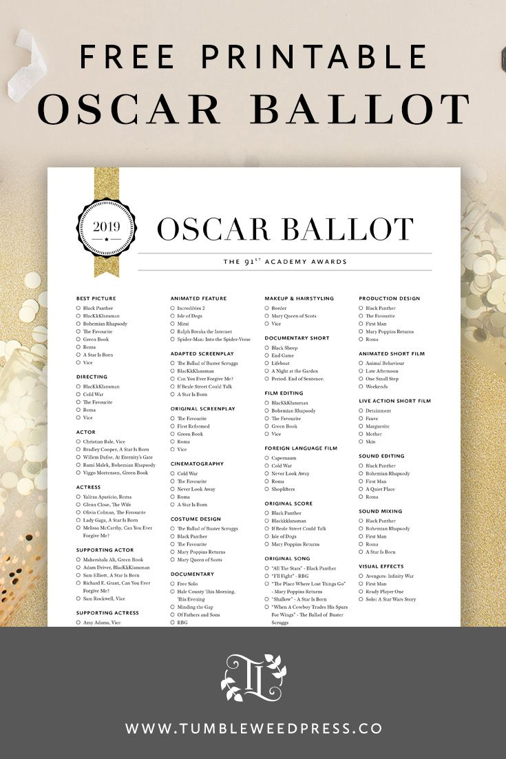 photo regarding Golden Globe Ballots Printable titled Oscars 2019 Ballot Printable -