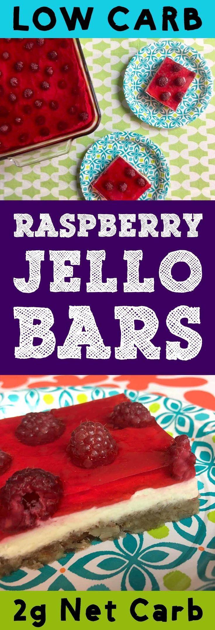 Low carb raspberry cheesecake Jello bars