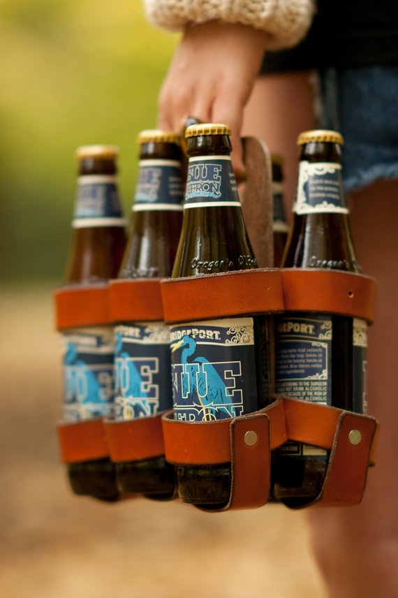 reusable leather beer/soda carton, $65 - would be fab to fill with great mix of craft beers