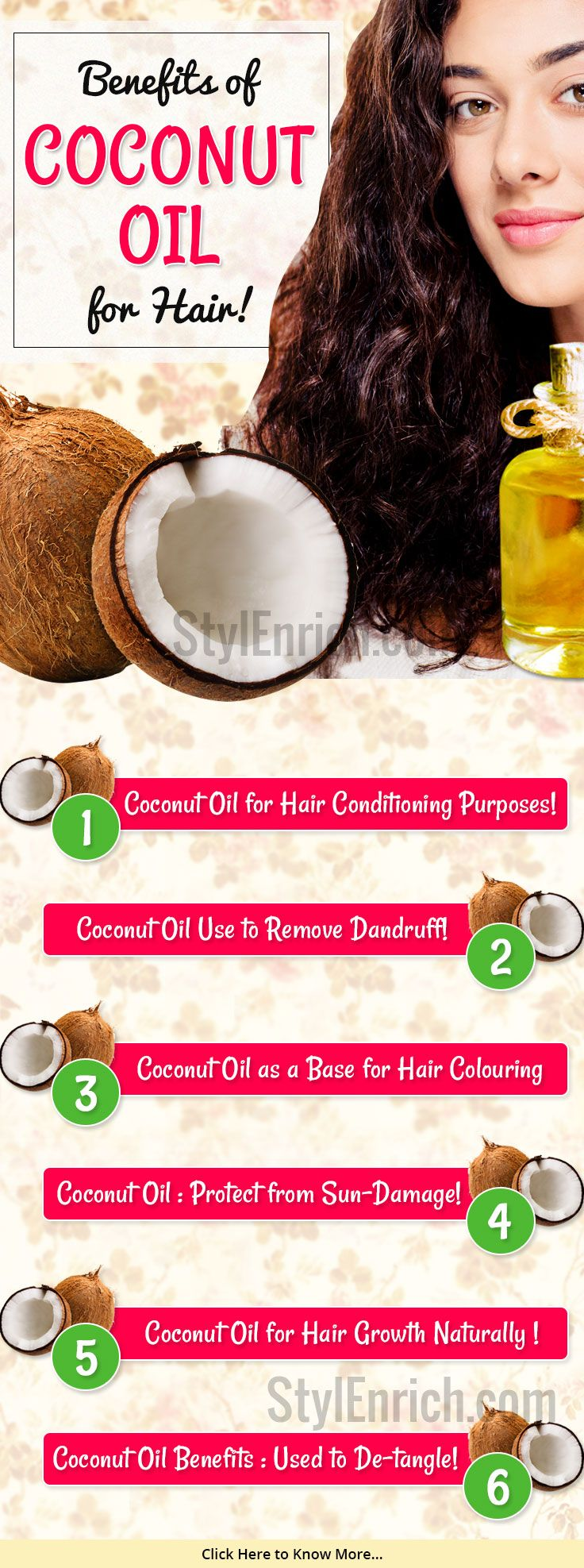 People are unaware about the natural products, #HomeRemedies for hair growth. #CoconutOil for hairs can be the best solution to all your hair problems. Here is tutorial for the benefits of coconut oil for hair growth.