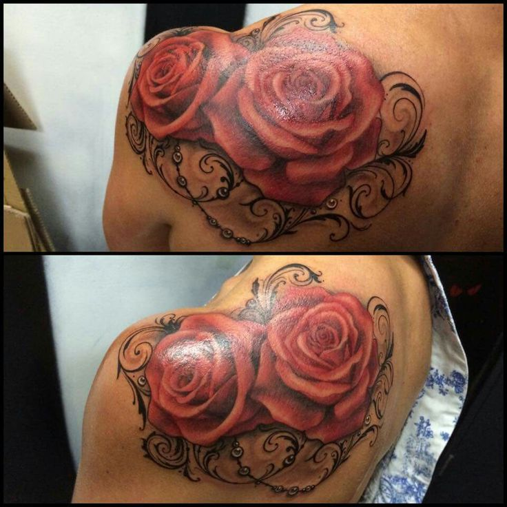 Beautiful rose and lace tattoo. Also great placement