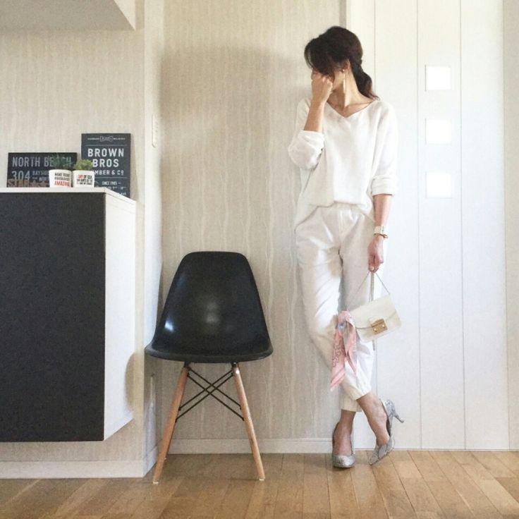 UNIQLOジョガーパンツで、オールホワイトコーデ♡ |miyu blog♡