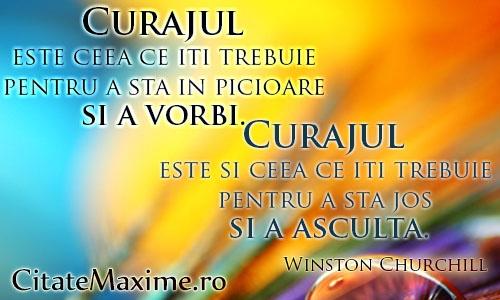 """""""Curajul este ceea ce iti trebuie pentru a sta in picioare si a vorbi. Curajul este si ceea ce iti trebuie pentru a sta jos si a asculta.""""  #CitatImagine de Winston Churchill  Iti place acest #citat? ♥Like♥ si ♥Share♥ cu prietenii tai.  #CitateImagini: #Viata #Curaj #AVorbi #AAsculta #WinstonChurchill #romania #quotes  Vezi mai multe #citate pe http://citatemaxime.ro/"""