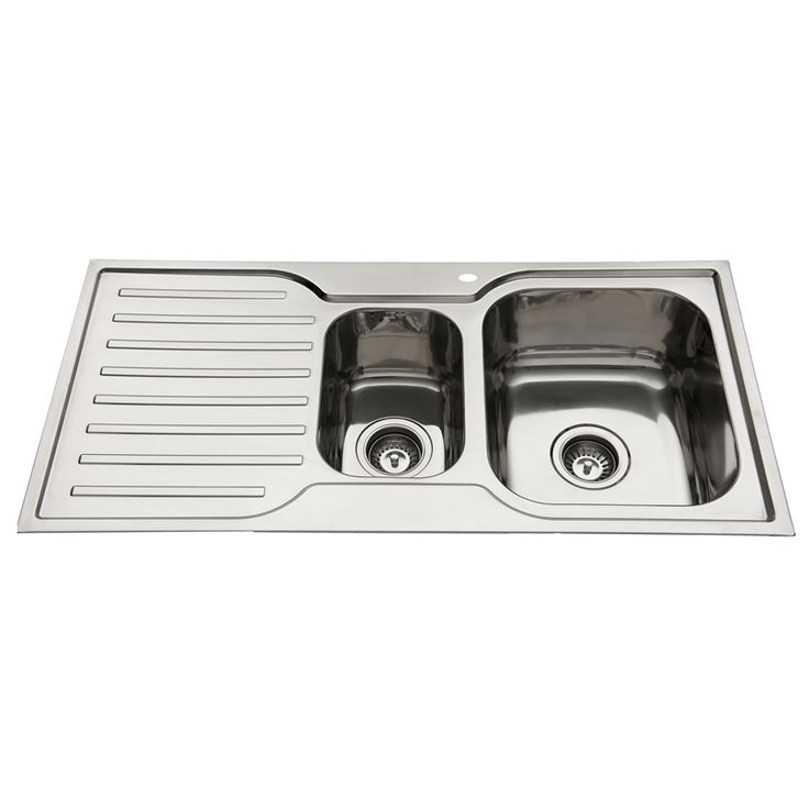 Squareline 980 Kitchen Sink With 1 & 1/2 Bowls And Drainer $196 Bunnings