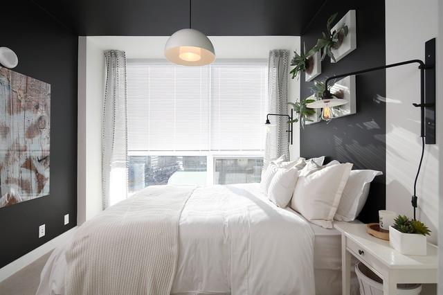 Small Bedroom Dark Gray White Small Space Decor Pinterest