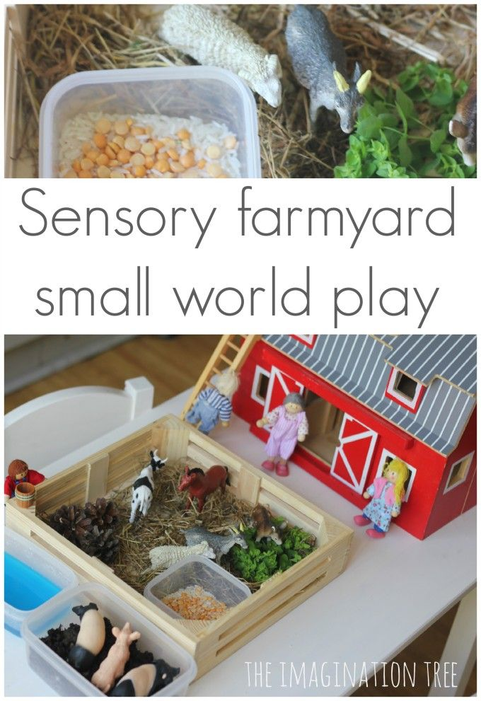 Sensory farmyard small world play. Add a van and a ladybird and it might work well with the book 'What the ladybird heard'.