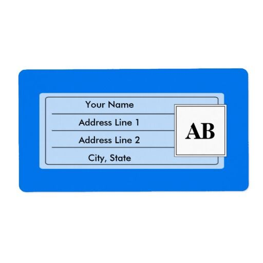 Azure blue solid color with monogram shipping label