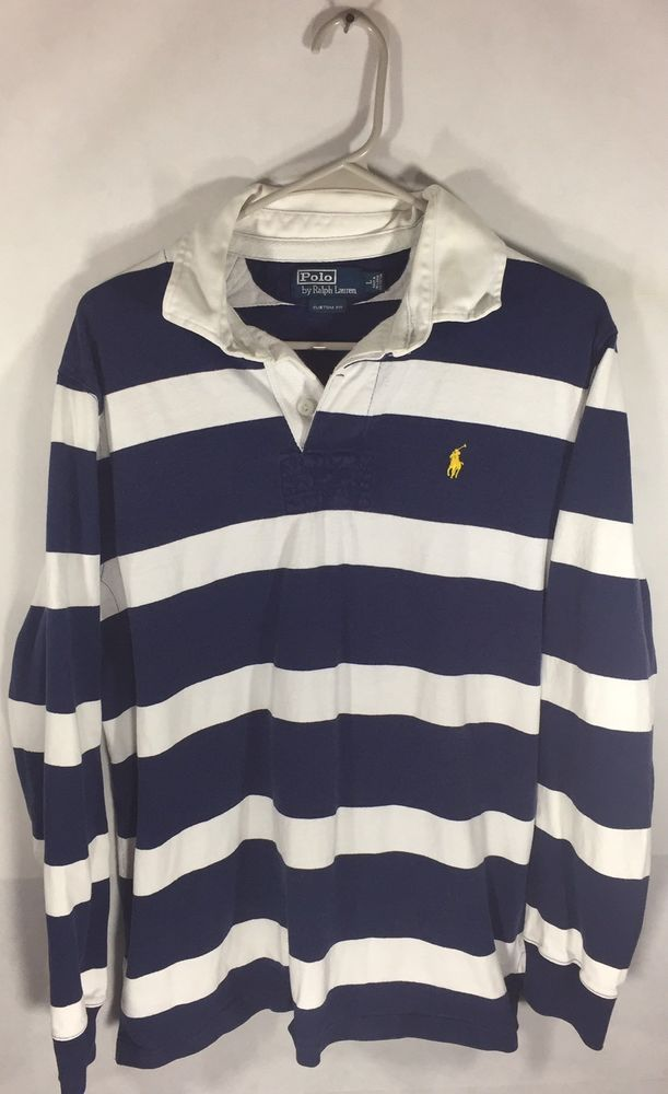 ea91a01e1 Size Large Vintage 90 s Polo Ralph Lauren Blue Striped Rugby Long Sleeve T  Shirt