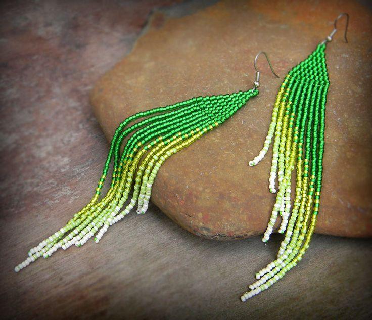 Купить Очень длинные серьги из бисера Зеленые серьги ручной работы Бохо стиль