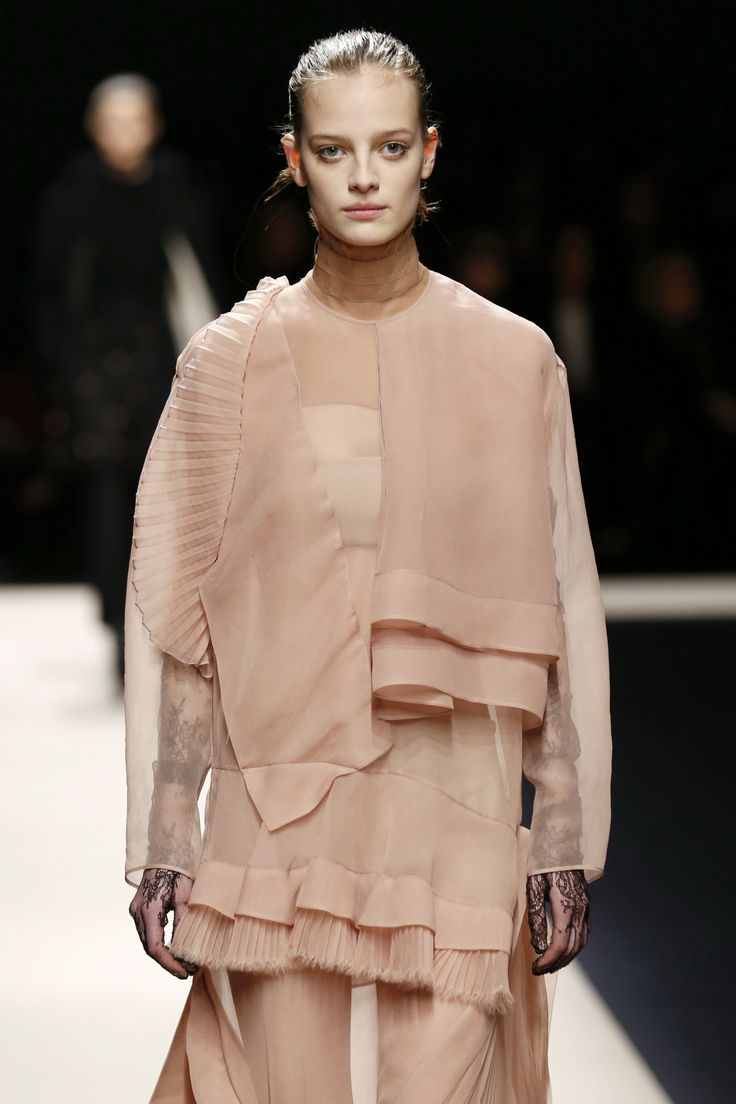 Sheer layering and precise pleats lend a historical romanticism to the #No.21 #AW15 collection at #MFW