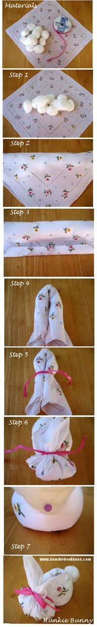 DIY. Cute no sew hankie bunny craft made out of handkerchiefs. Can also be made with cute fabric around your house. Just in time for Easter and an easy craft you can do with your kids. Happy Crafting! bumblebeelinens.com