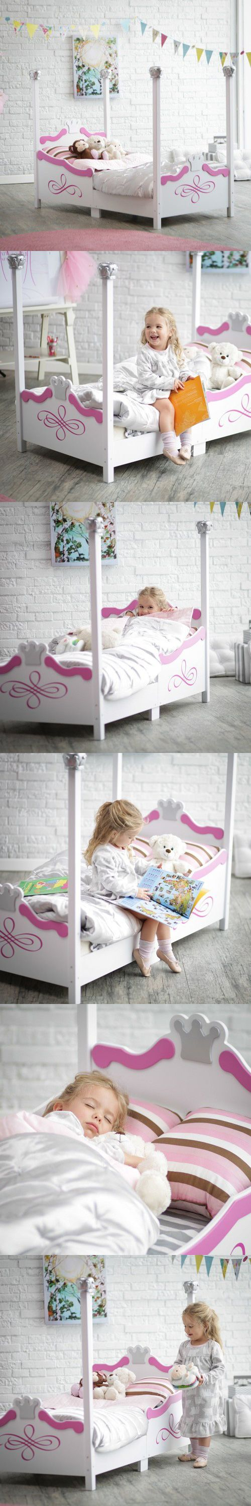 This Kidkraft Princess Toddler Bed painted in silver tone finish with crowns adorning the headboard, footboard, the top of each bed post, the KidKraft Princess Toddler Bed - Silver, it is sure to be your child's dream come true.  It's constructed from strong, durable wood and easy for your princess to crawl into. This toddler bed makes the transition from a crib much easier. The recommended age for this bed is 15 months and up, and the maximum weight capacity is 50 pounds.