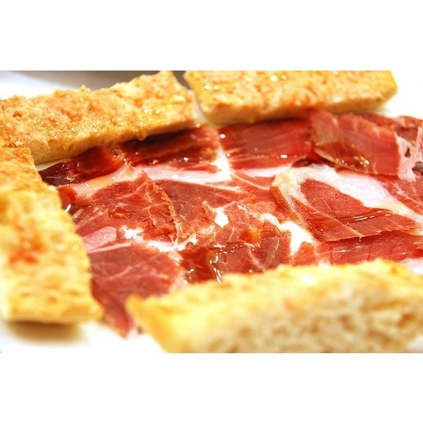 Jamon Iberico con pan con tomate ❤ liked on Polyvore