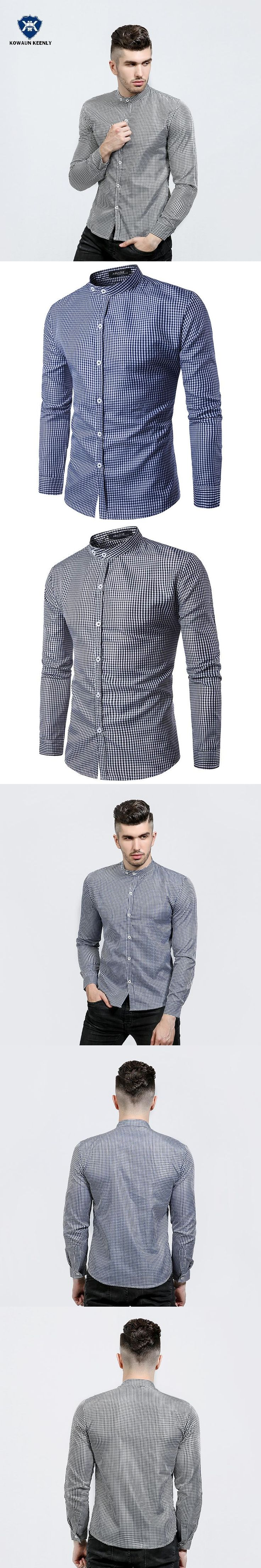 2017 Autumn Fashion Navy Blue Plaid Shirt Male Long Sleeve Black Stand Collar Shirt Party Luxury Slim Fit Casual Shirts Men