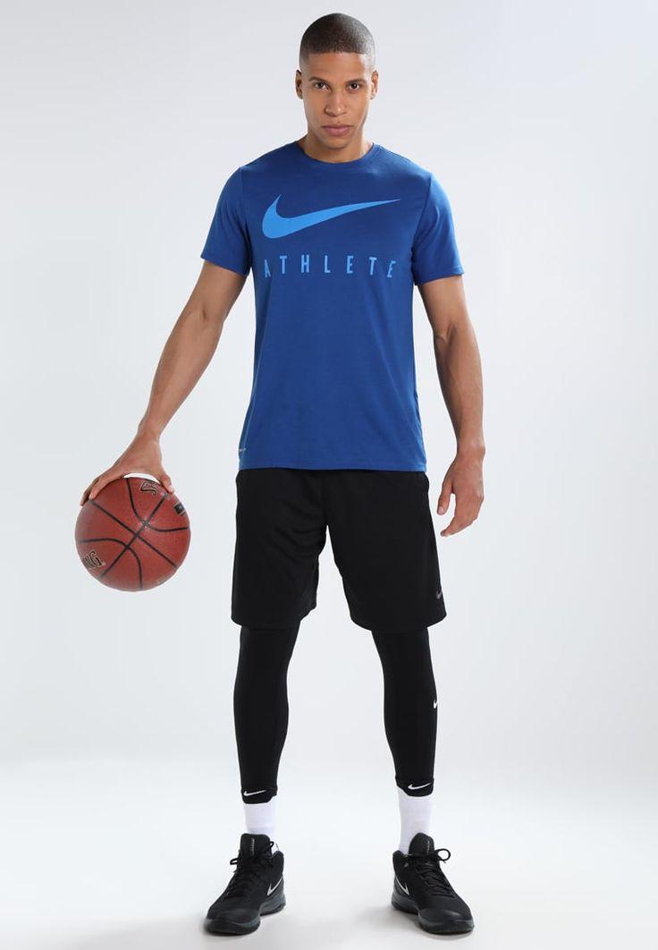 Nike Performance DRY TEE ATHLETE - Camiseta print - thunder blue/hyper crimson 9gBvF0NG
