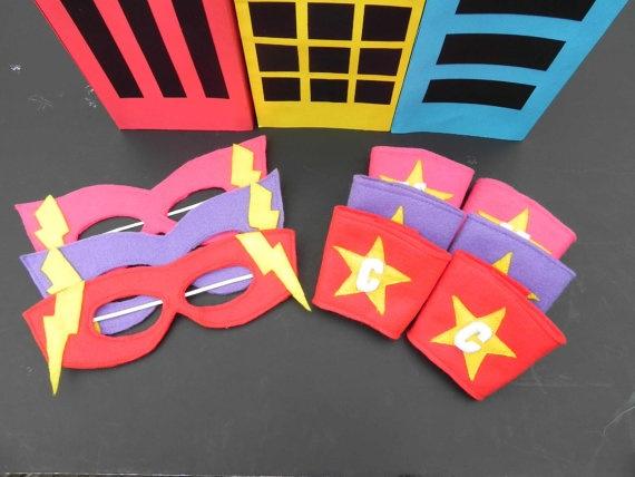 Superhero Mask and Wrist Cuffs: Kids Parties, Ideas Masks, Arm Bands, Parties Ideas, Great Ideas