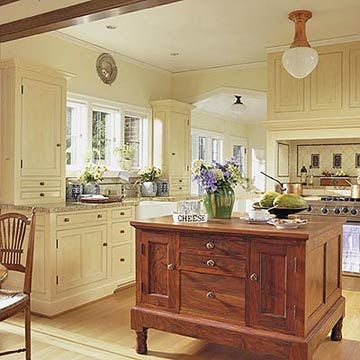 Classic yellow kitchen cabinets, beautiful yellow kitchens.  wantvto use the antique buffet from  dining rm. in my kitchen against the wall on back of fire place, so there will be a antique wood for weight along with thr medi ium. colored oak wood floor..