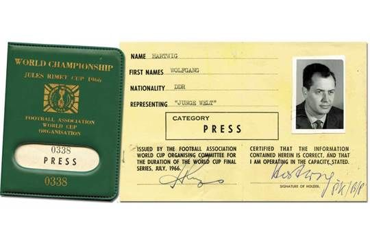 FIFA World Cup 1966 Official ID - Card - VIII World Football Championship 1966 in England, Offici