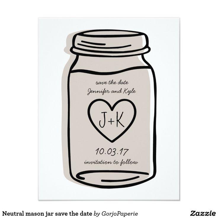 Neutral mason jar save the date card