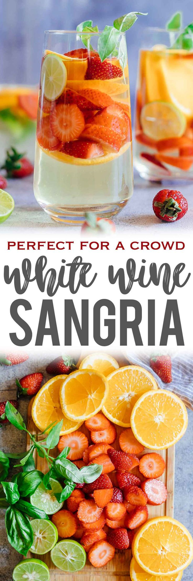 Learn how to make a refreshing Strawberry Orange White Wine Sangria that combines the sweetness and flavours of strawberries, oranges, limes and basil with white wine for a cocktail that everyone's going to love. It's the perfect brunch drink that can be made ahead in a pitcher for a crowd. #whitesangria #wine #cocktail #redwine #drinks #summer #recipe via @my_foodstory