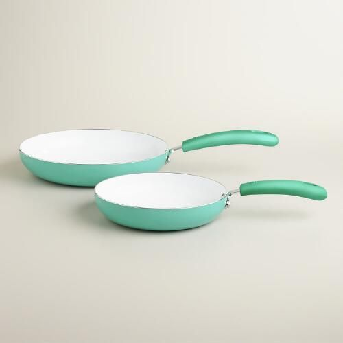 One of my favorite discoveries at WorldMarket.com: Aqua Nonstick Ceramic Skillets, 2-Pack