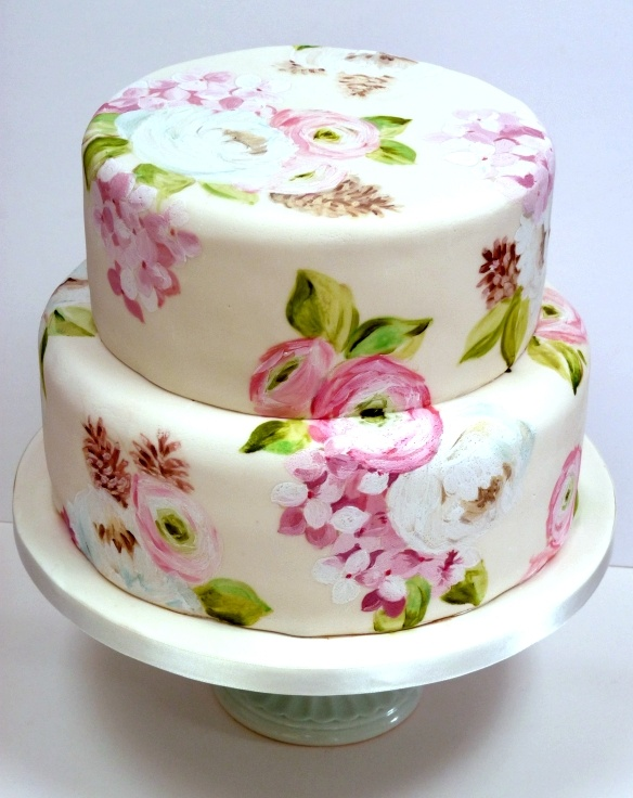 Amelie's House: Painted wedding cakeAmelie House, Hands Painting Cake, Ideas, Hand Painted Cakes, Floral Cake, Wedding Cakes, Eating Cake, Painting Wedding Cake, Bridal Showers