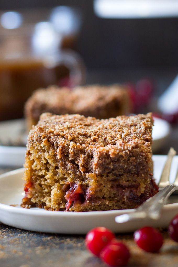 Gluten free and Paleo Cranberry Orange Coffee Cake made with homemade cranberry sauce and sweet spices. You'll never know this coffee cake is Paleo!