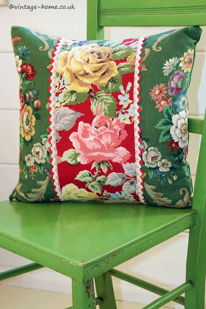 Vintage Home Shop - Gorgeous Vintage Rosy Barkcloth and Floral Linen Cushion: www.vintage-home.co.uk