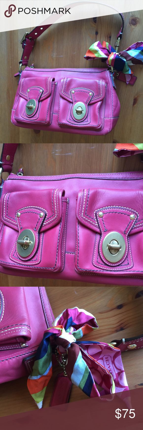 """Coach Legacy Mandy Magenta Leather Shoulder Bag Amazing Coach Legacy Rare Mandy bag. Double pocket front with gold buckles. Pretty magenta leather with signature canvas interior. Clean and pristine. Includes coach scarf as pictured. Excellent condition- this bag was well taken care of! 12""""Long 7.5"""" high 4"""" across bottom Coach Bags Shoulder Bags"""
