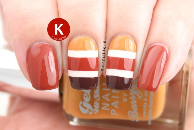 Autumnal stripes with Barry M Autumn 2014 Gellys