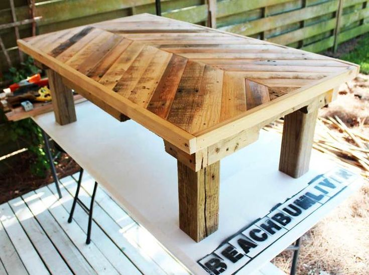 Original Pallet Wood Coffee Table — BeachBumLivin | Awesome DIY Furniture Project Ideas | Tutorials on distressing, antiquing, and building pallet furniture
