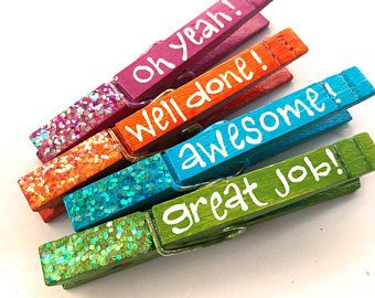 GREAT JOB classroom clothespins hand painted clothespin magnets glitter student appreciation Oh yeah! Well done! awesome! great job!